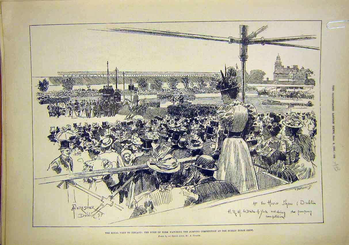 Print Ireland Royal Visit Dublin Horse York Duke Duchess 1897 20Amaa1 Old Original