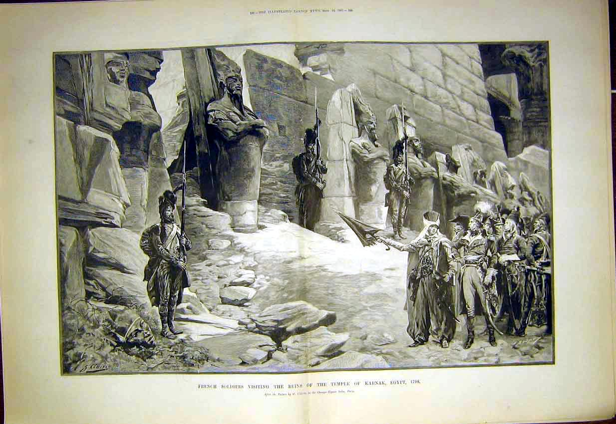 Print French Soldiers Ruins Temple Karnak Egypt 1897 87Tmaa1 Old Original