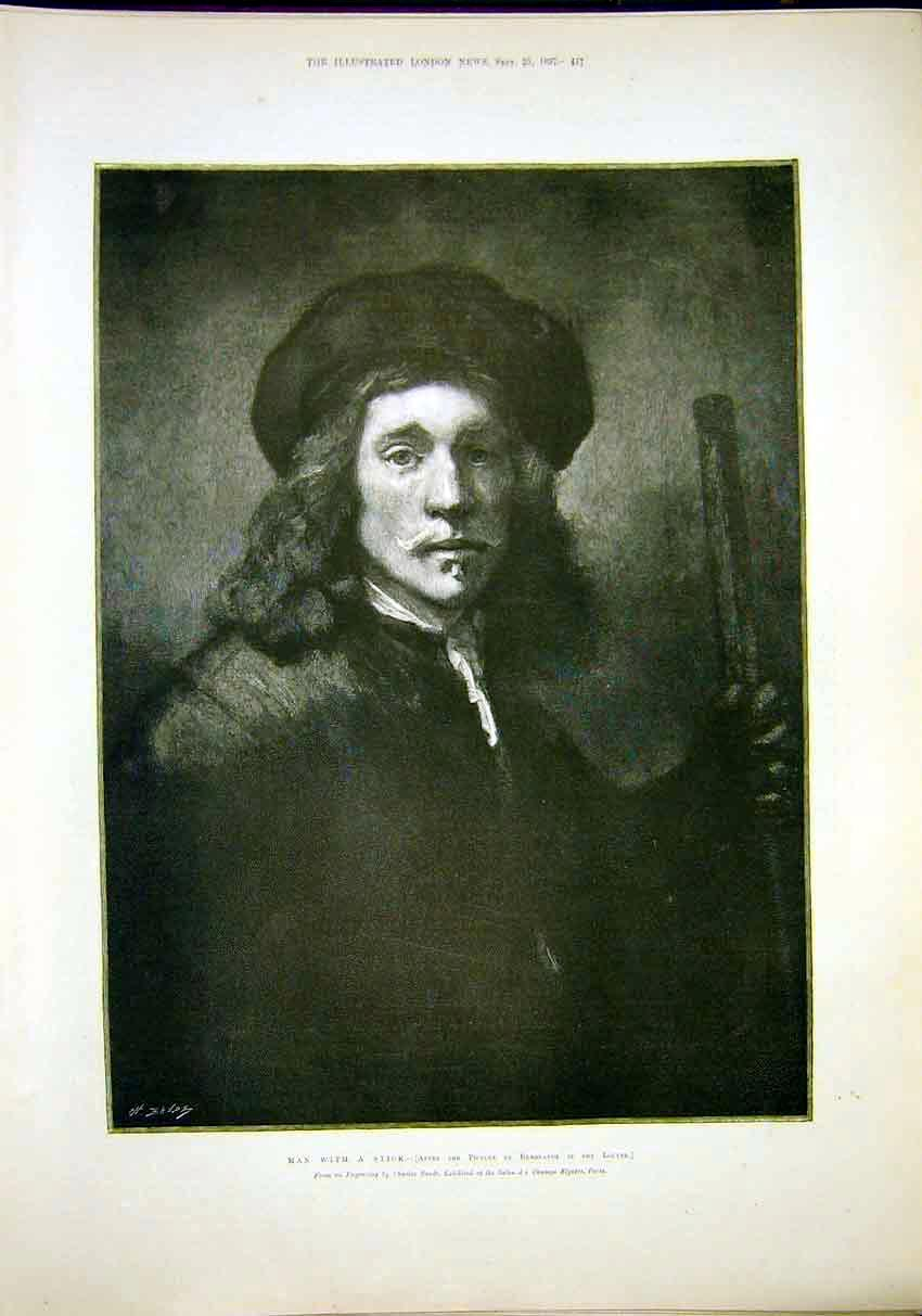 Print Portrait Rembrandt Man With Stick Engraving 1897 17Maa1 Old Original