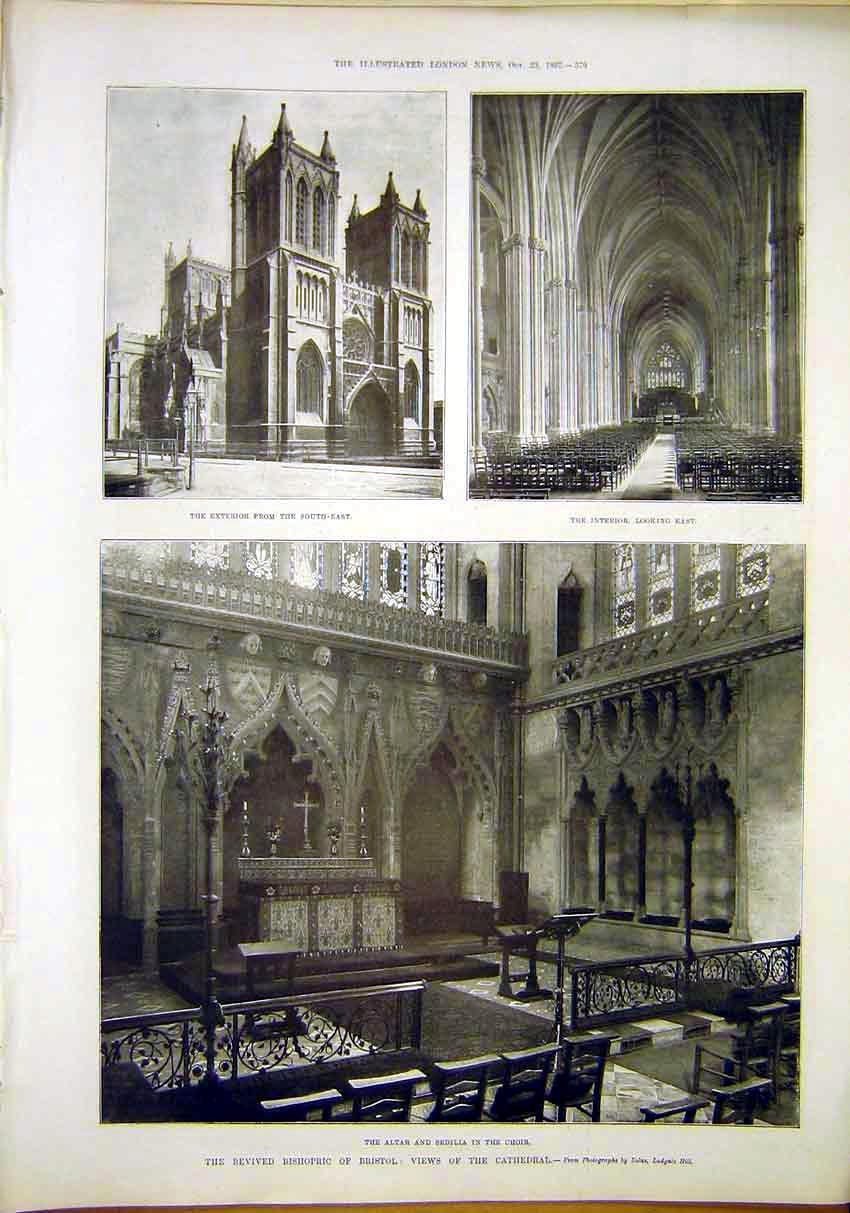 Print Bristol Cathedral Altar Sedilla Choir 1897 79Maa1 Old Original