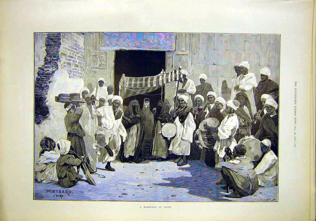 Print Marriage Cairo Montbard Egypt Religion 1897 33Maa1 Old Original