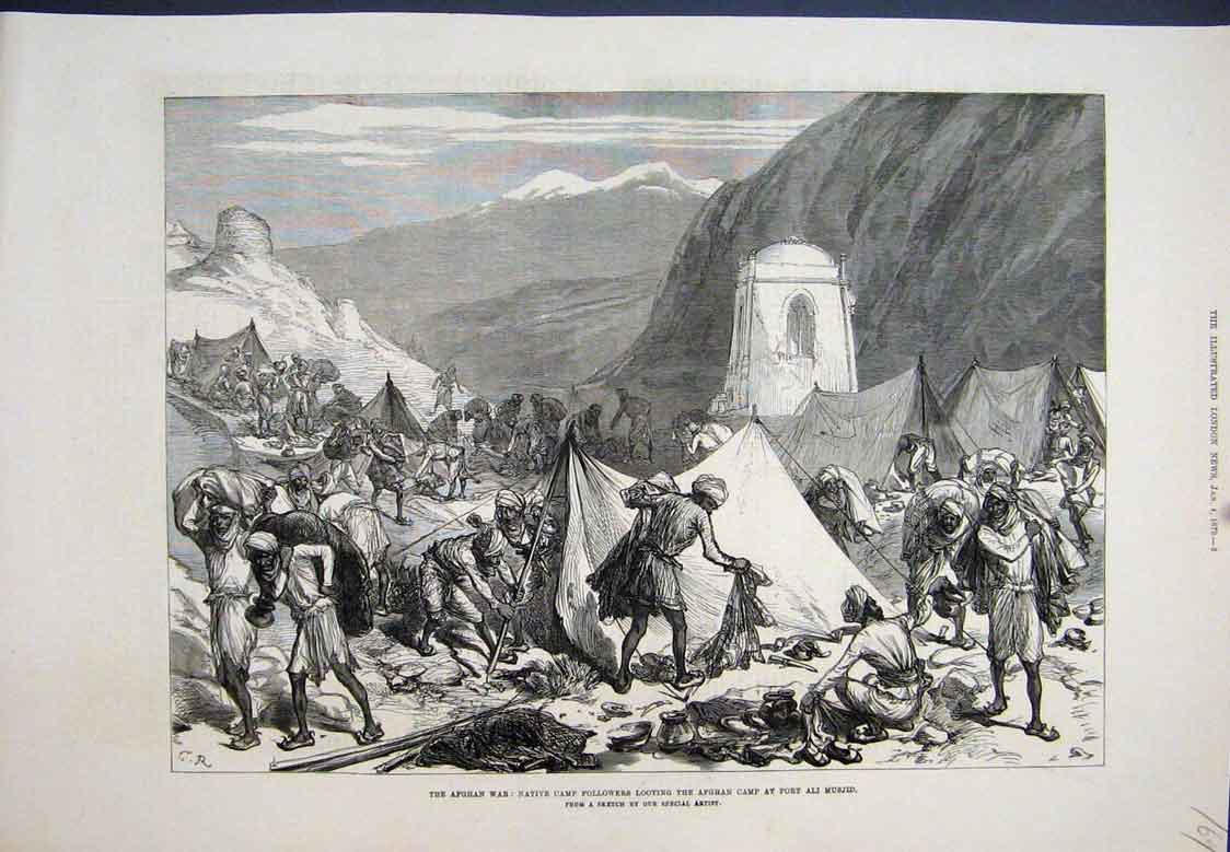 [Print Looting Afghan Camp Fort Ali Musjid 1897 69Mar1 Old Original]