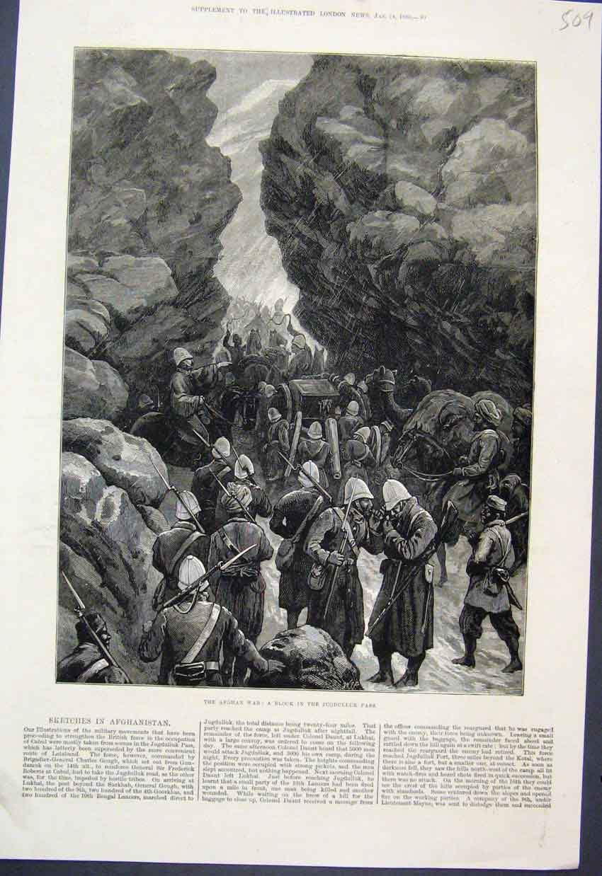 [Print Afghan War Block In The Jugdulluk Pass 1880 Sketch 09Mar1 Old Original]