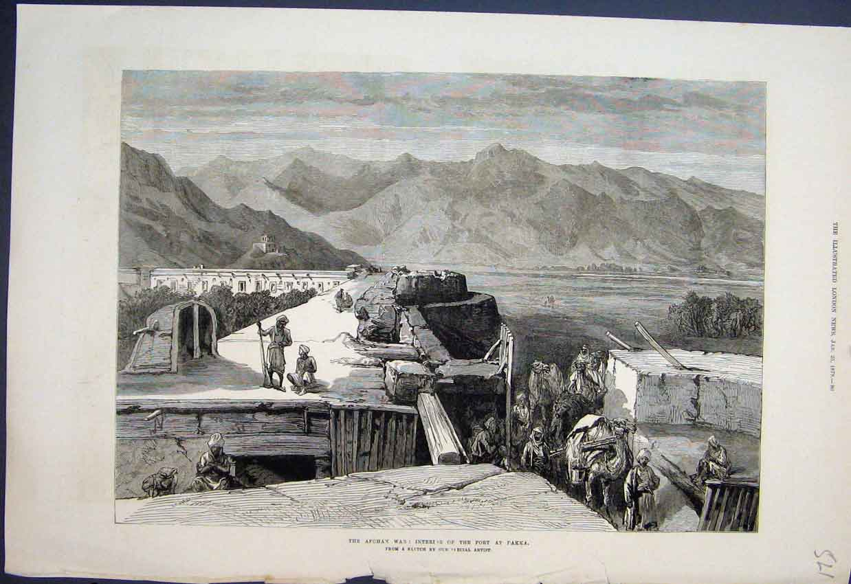 [Print Afghan War Inside Fort Takka Camels Sketch 1879 21Mar1 Old Original]