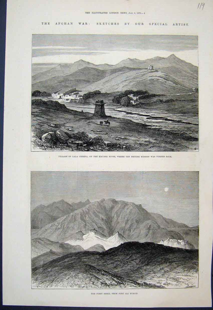 [Print 1879 Afghan War Lala Cheena Khyber River Sketches 19Mar1 Old Original]