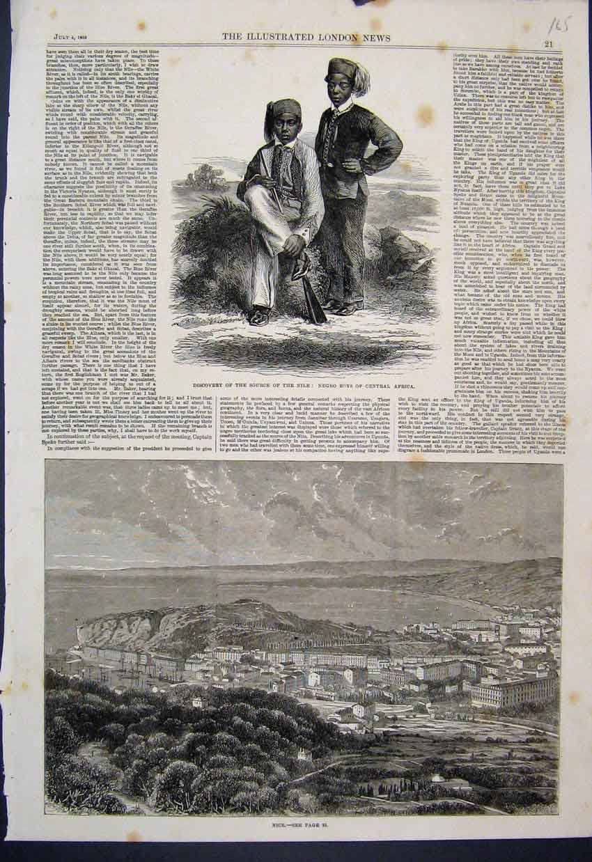 [Print 1863 Source Nile Negro Boys Central Africa Map Route 65Mar1 Old Original]