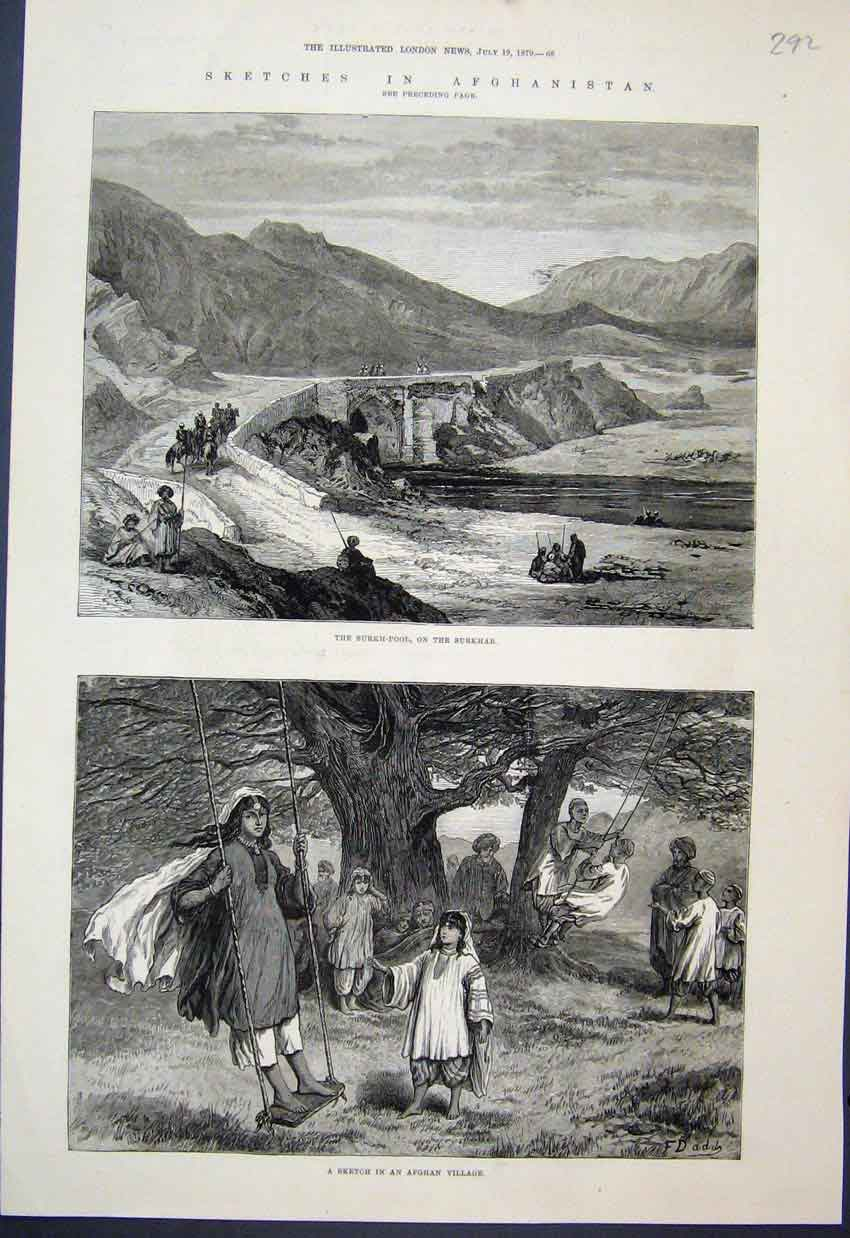[Print 1879 Surkh Poolsurkhab Children Swing Afghan Village 92Mar1 Old Original]