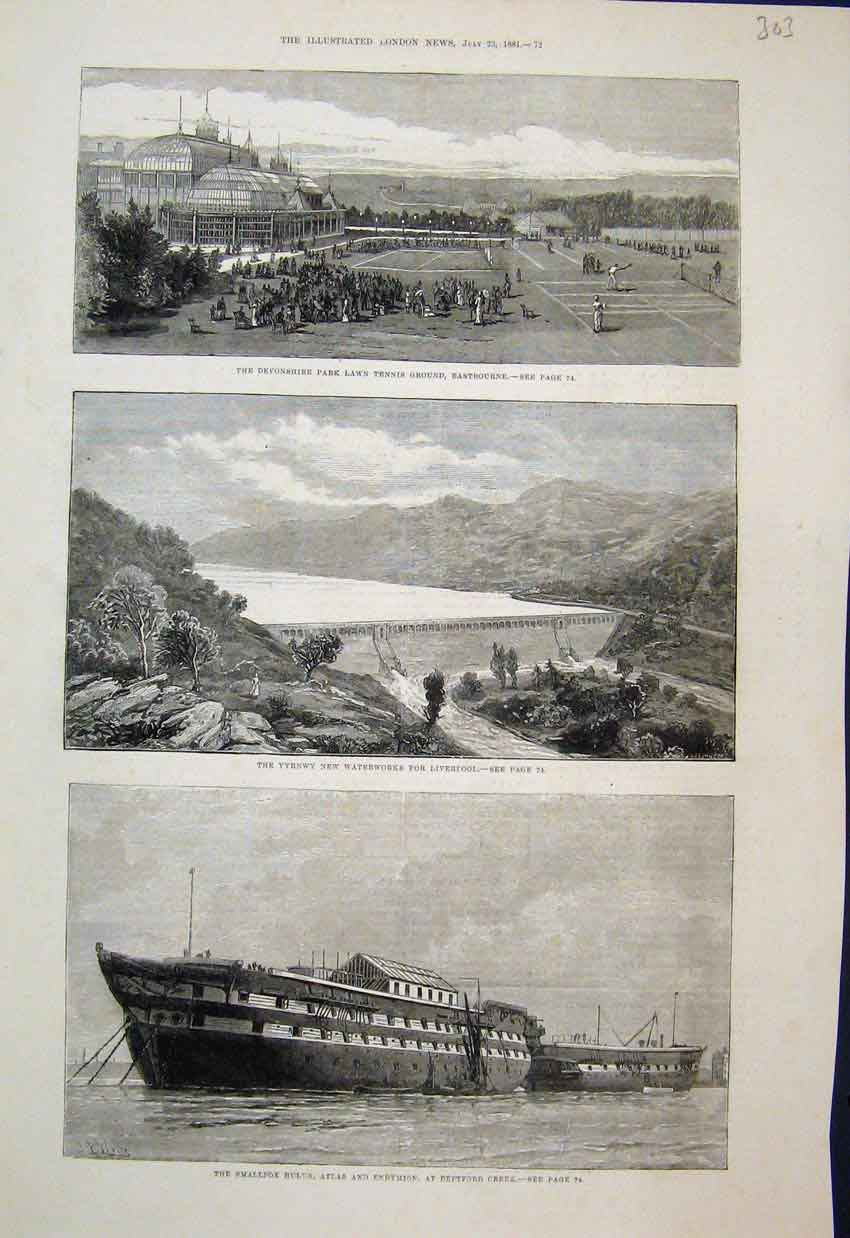 [Print 1881 Smallpox Hospital Ships Deptford Liverpool Dam 03Mar1 Old Original]