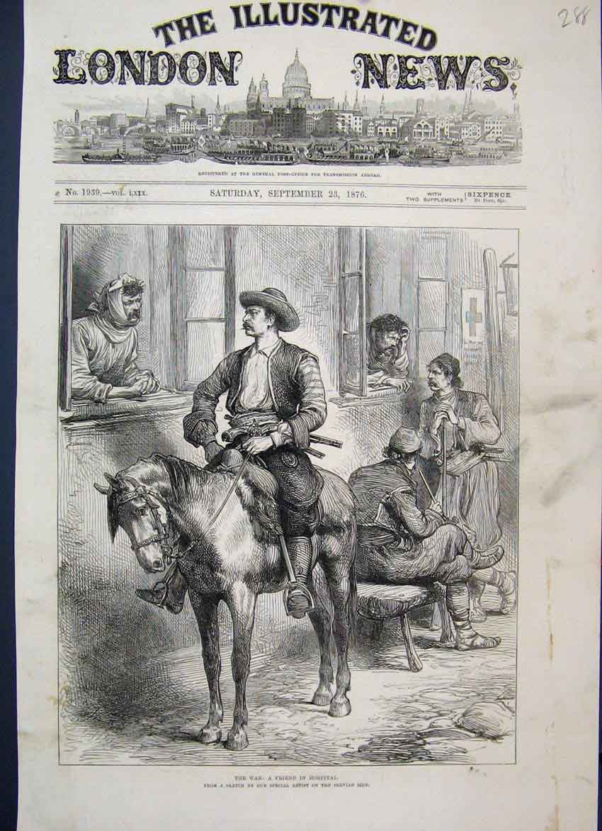 [Print 1876 Man Horse Friend Hospital Visit 88Mar1 Old Original]