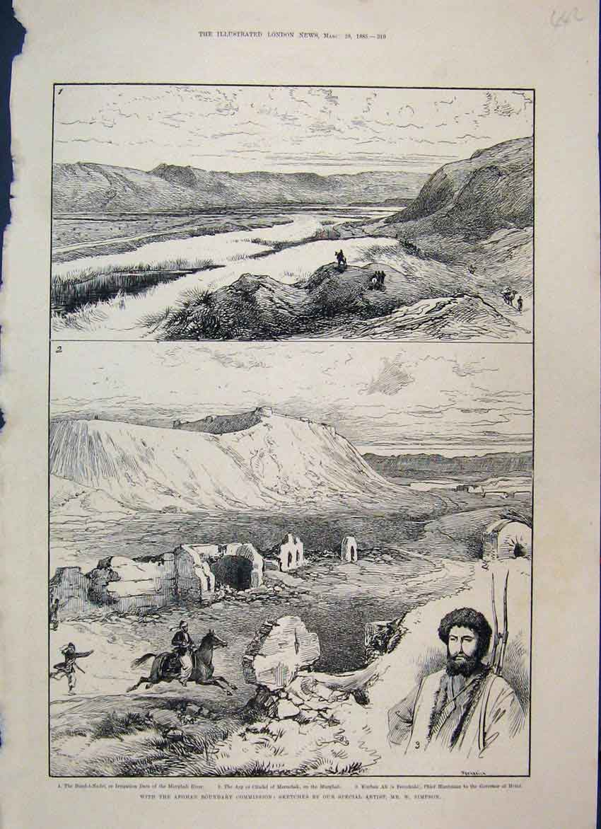[Print 1885 Afghan Boundary Commission Murghab Kurban Ali 42Mar1 Old Original]