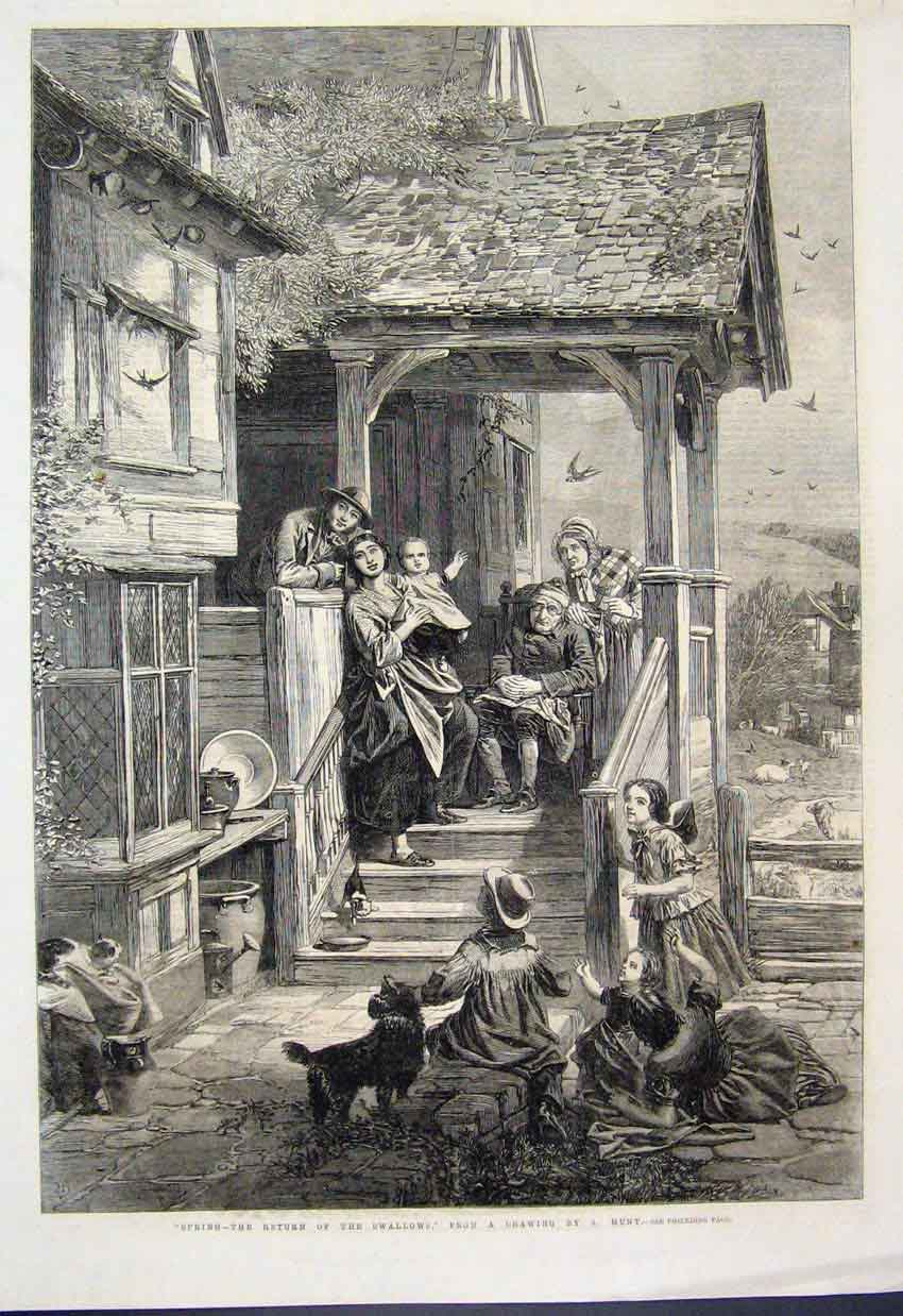 [Print 1861 Spring Swallows Family Dogs Home Fine Art 729Amar Old Original]