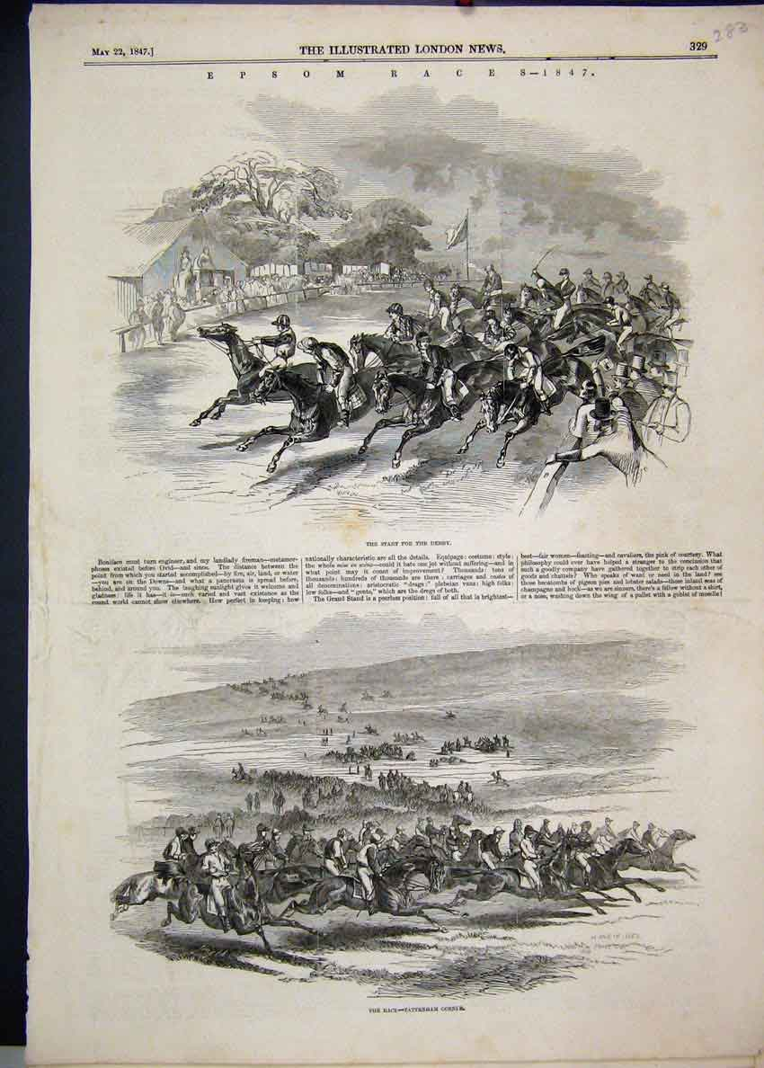 Print 1847 Epsom Races Derby Tattenham Corner Horses 83Mar1 Old Original