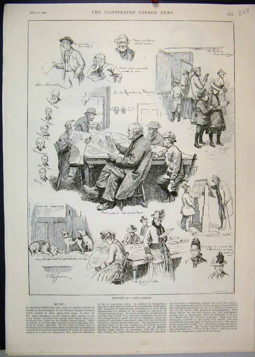 [Print 1888 Free Library Books Reading Dogs Children Sketches 69Mar1 Old Original]