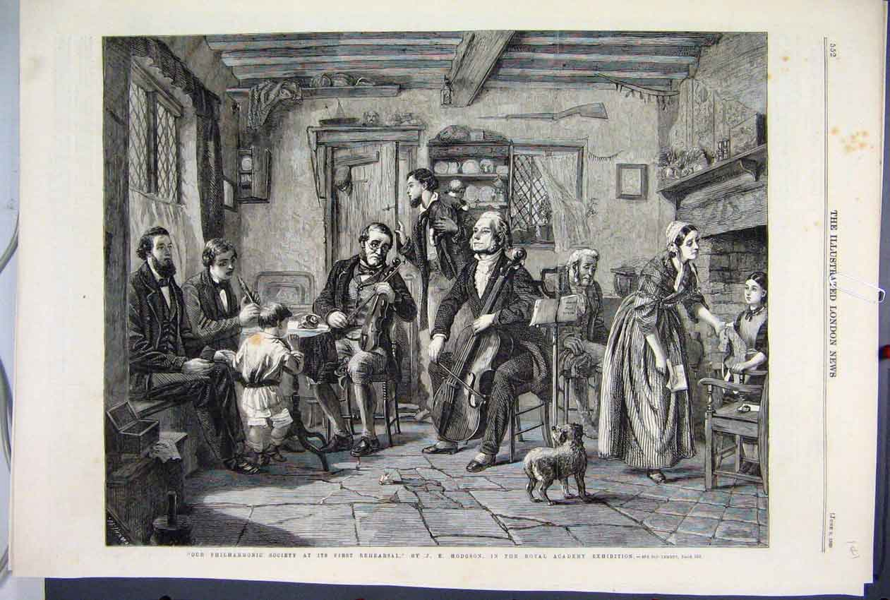 Print 1860 Philharmonic Society Rehearsal Royal Academy 41Mar1 Old Original