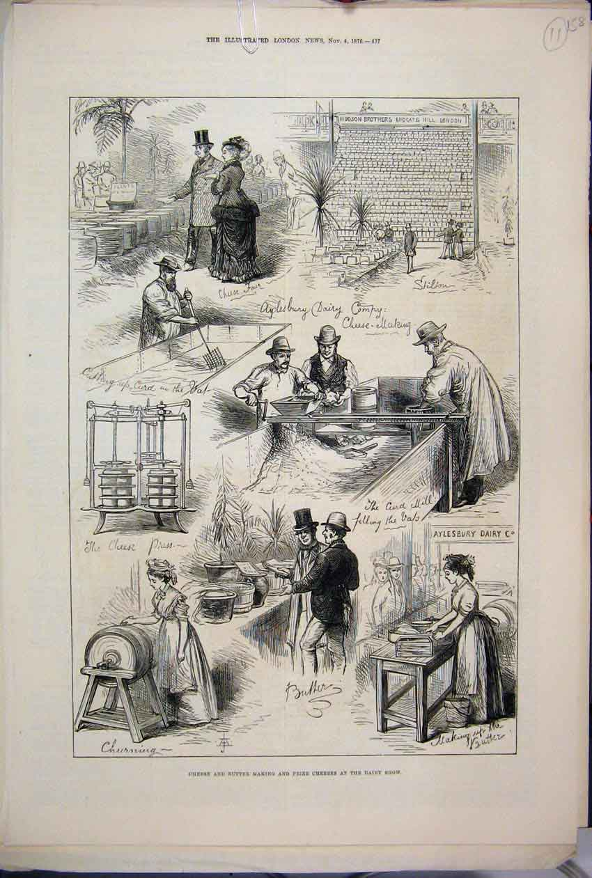 [Print 1876 Cheese Butter Making Prize Dairy Show Aylesbury 58Mar1 Old Original]