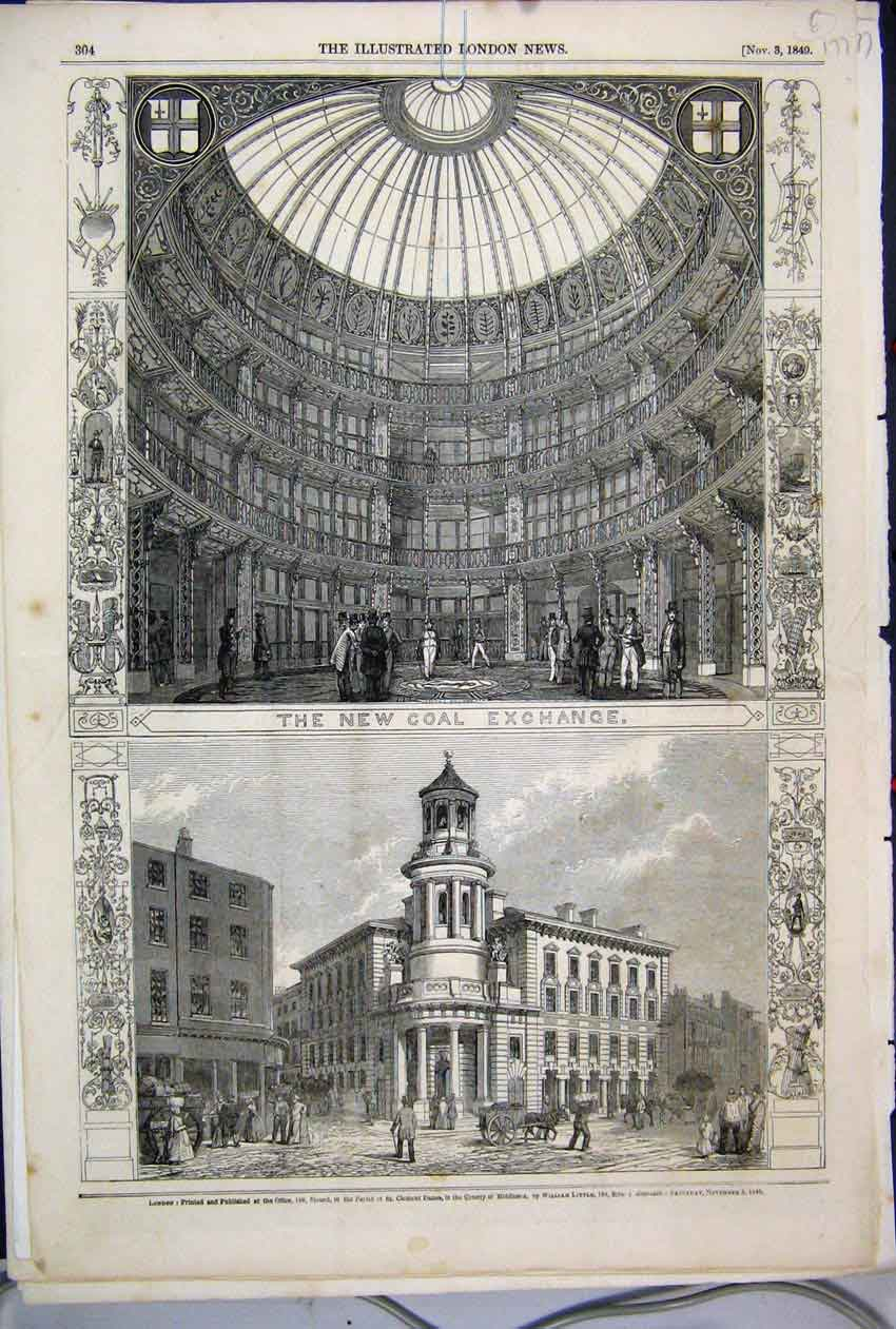 [Print 1849 Coal Exchange Buildings Street Scene Donkey 77Mar1 Old Original]