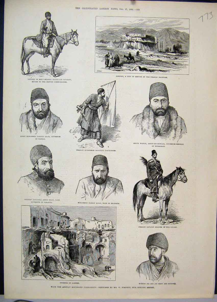 [Print Afghan Boundary Commission Persian Cavalry Soldier 1884 773Amar Old Original]