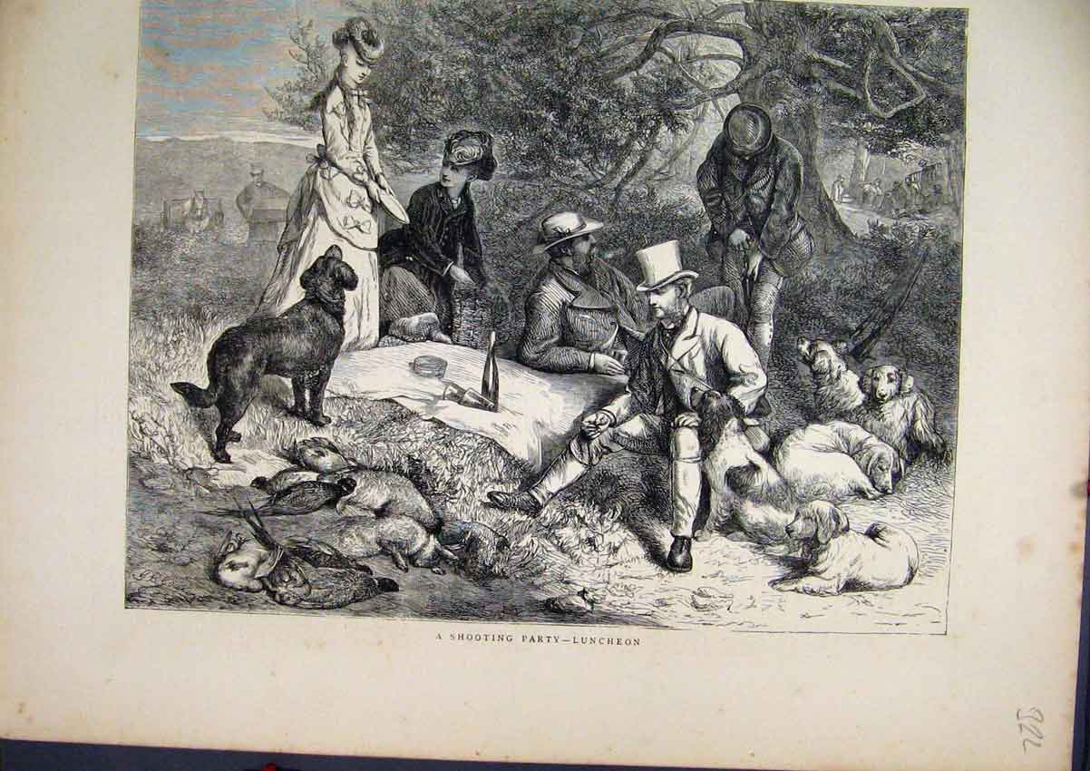 [Print 1871 Shooting Party Lunch Time Dogs Men Country Scene 322Amar Old Original]