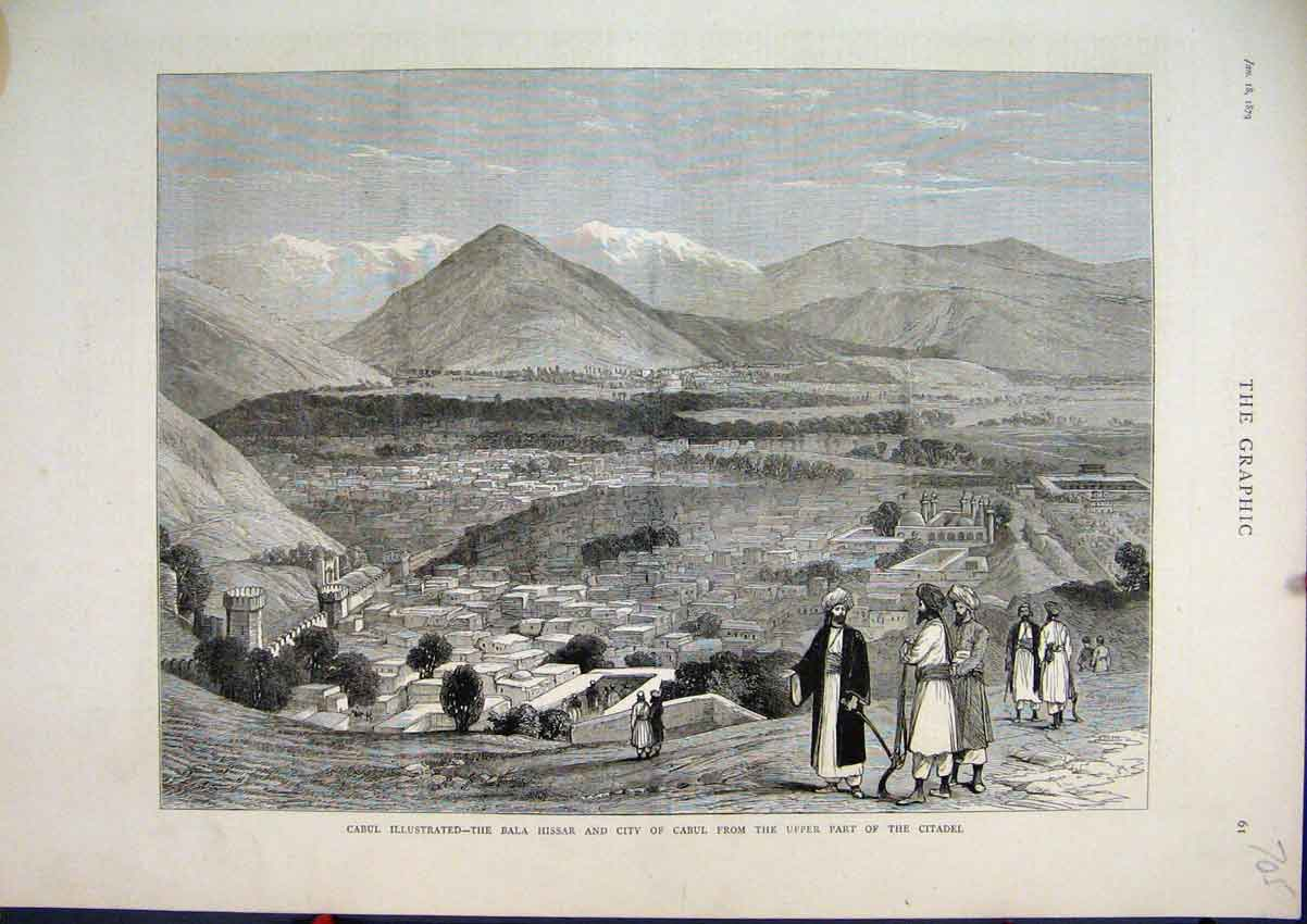 Print Cabul Bala Hissar City Upper Part Citadel 1879 Mountain 05Mar1 Old Original