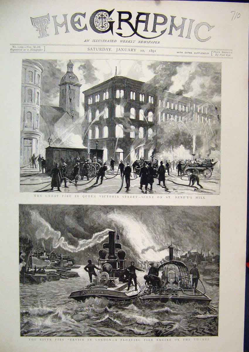Print Great Fire London 1891 Floating Fire Engine Thames 10Mar1 Old Original