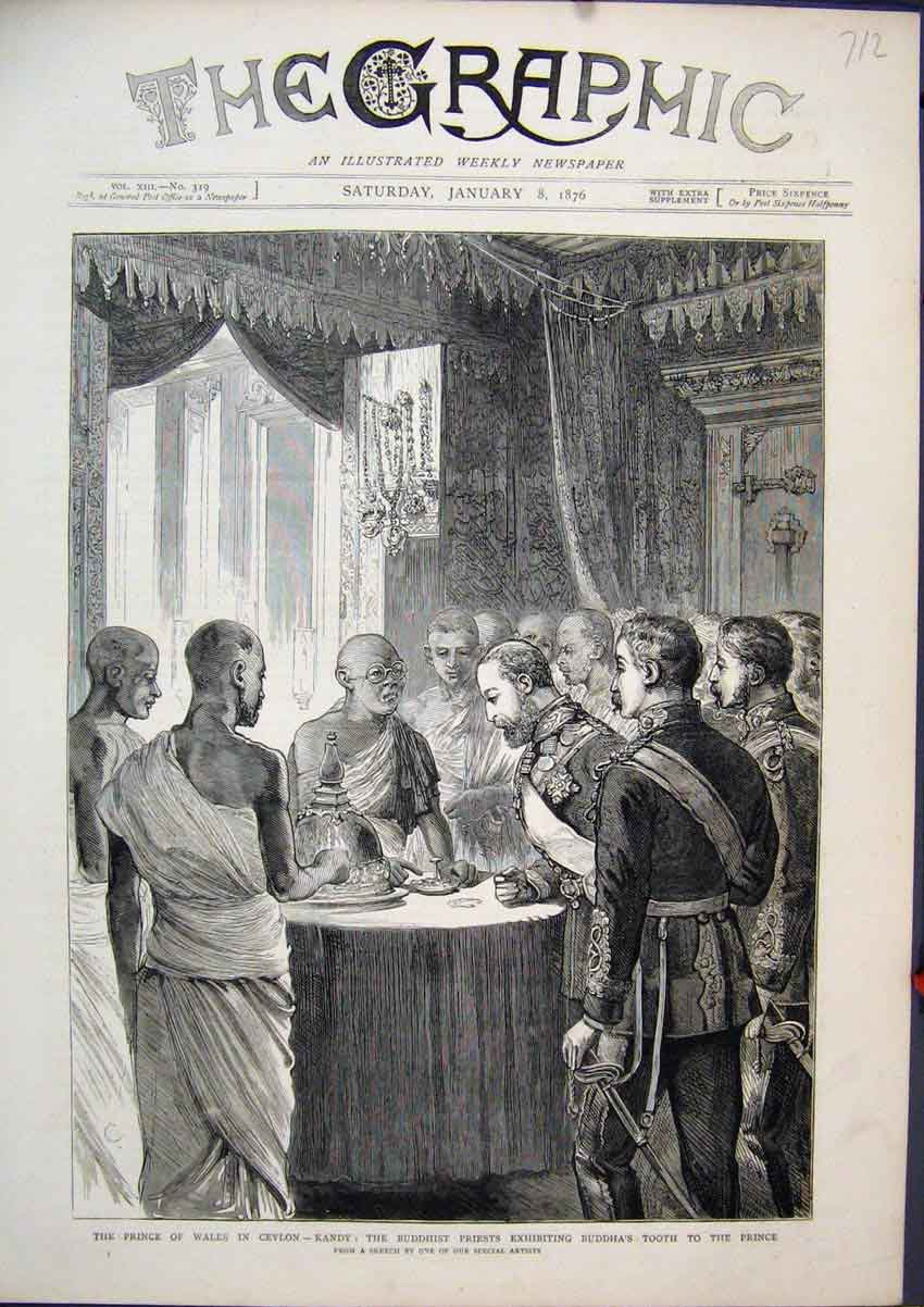 Print Prince Wales Ceylon 1876 Buddhist Priests Tooth Sketch 12Mar1 Old Original
