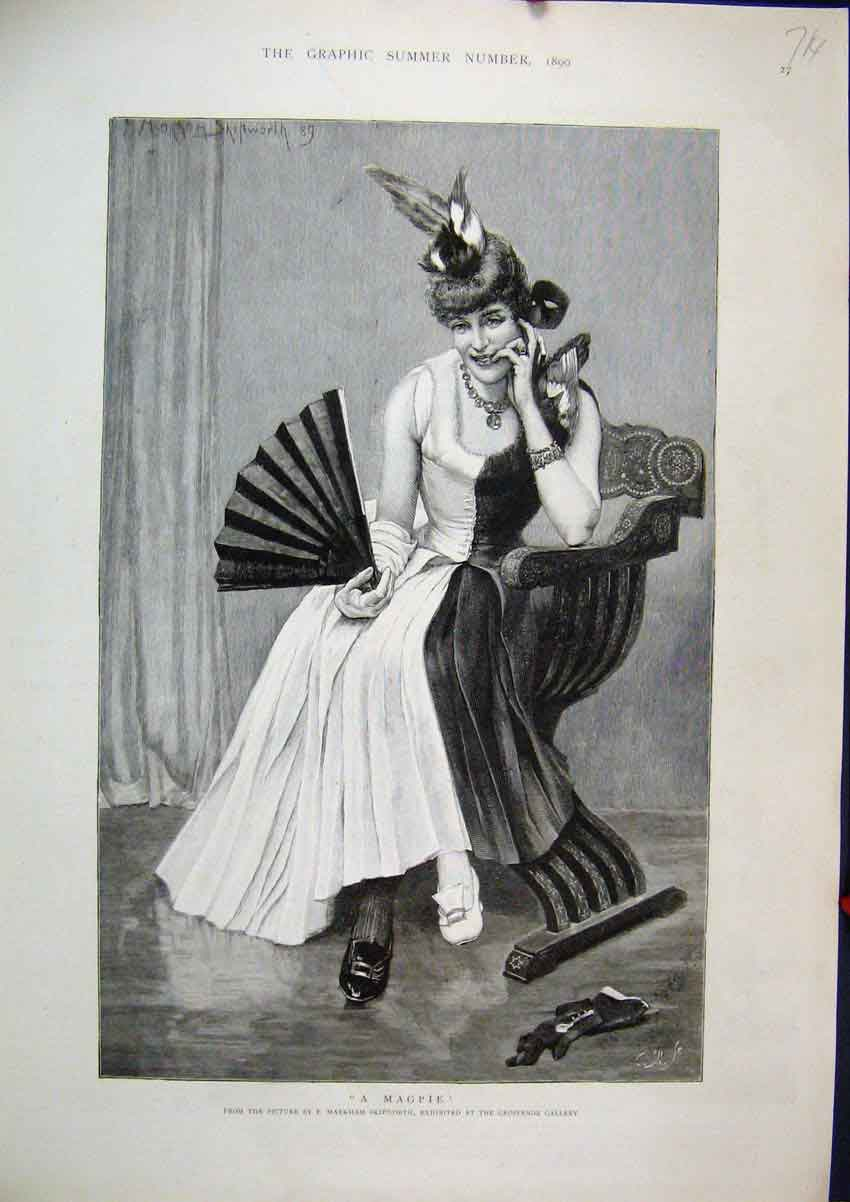 Print Woman Sitting Chair Black White 1890 Magpie Hat Fan 14Mar1 Old Original