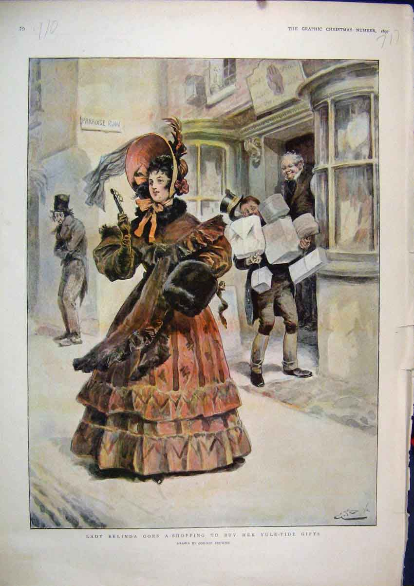 Print 1897 Lady Belinda Shopping Yule-Tide Gifts Colour 17Mar1 Old Original
