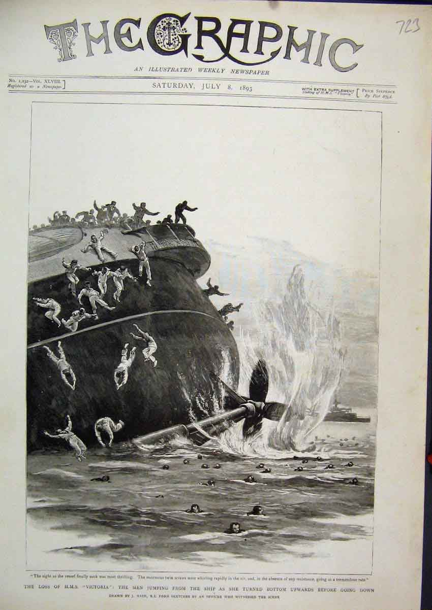 Print 1893 Sinking H.M.S Victoria Men Jumping Ship Sea Scene 23Mar1 Old Original