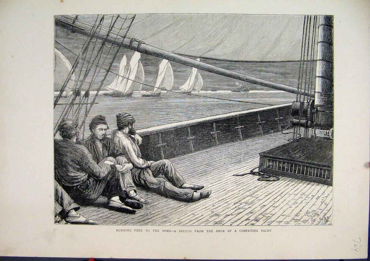 Print 1872 Running Free Nore Sketch Deck Competing Yacht 24Mar1 Old Original