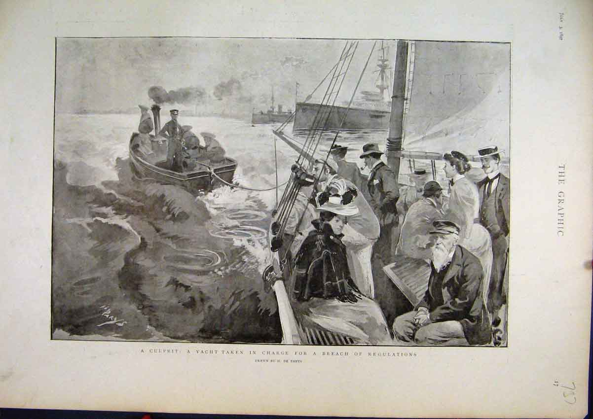 Print 1897 Yacht Taken Charge Breech Regulations Sea Scene 37Mar1 Old Original