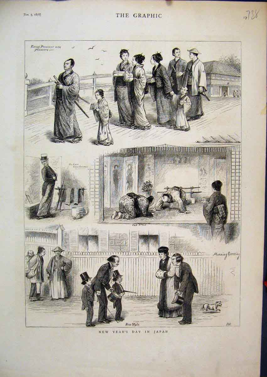 [Print 1878 New Years Day Japan Family Procession Presents 38Mar1 Old Original]