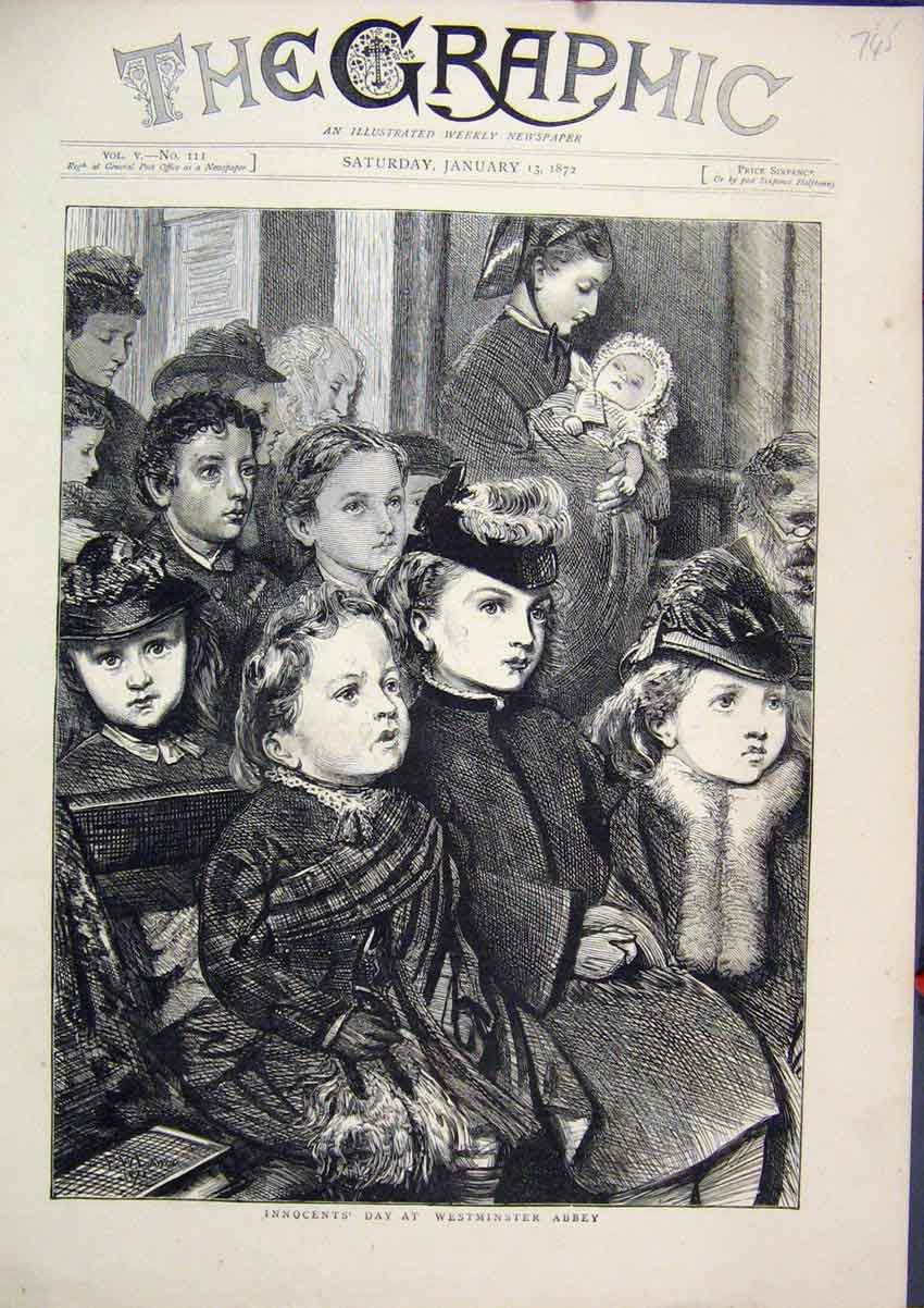 Print Children Innocents Day 1872 Westminster Abbey Sketch 45Mar1 Old Original