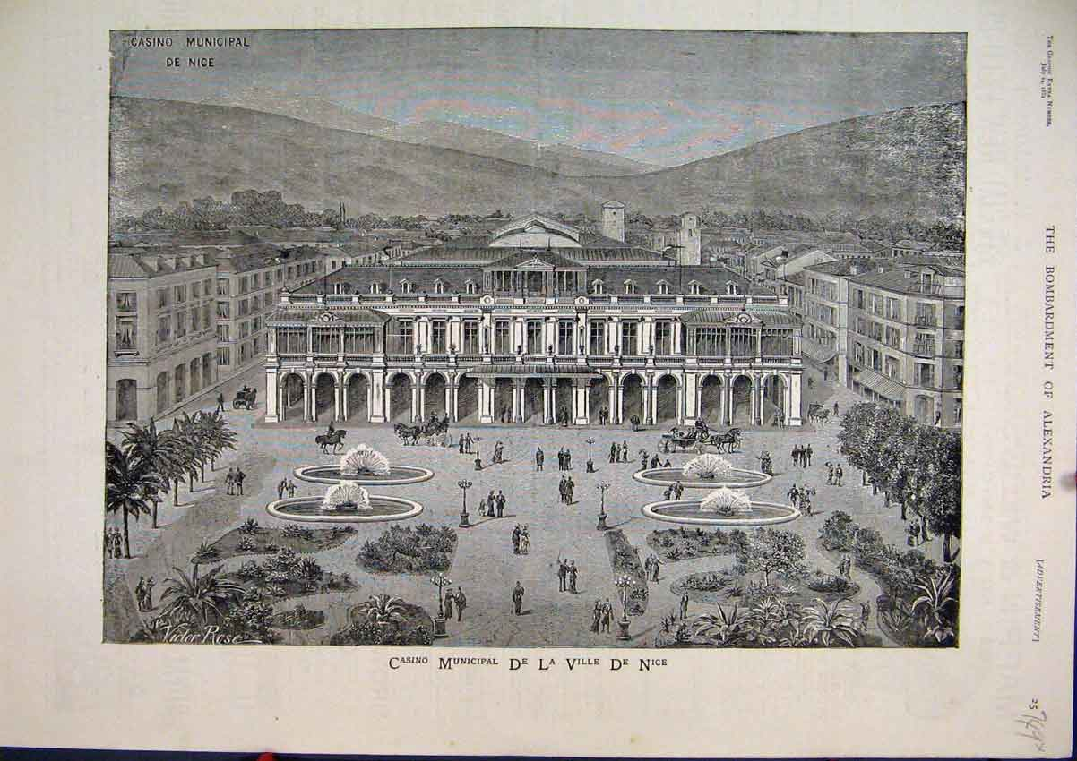 Print Casino Municipal De La Ville De Nice 1882 Outdoor Scene 49Mar1 Old Original