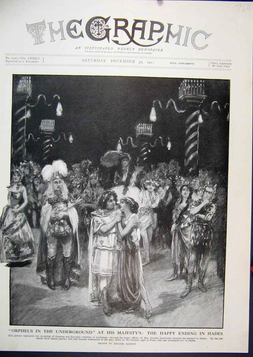 Print 1911 Orpheus Undeeground Majesty Theatre Hades Ending 50Mar1 Old Original