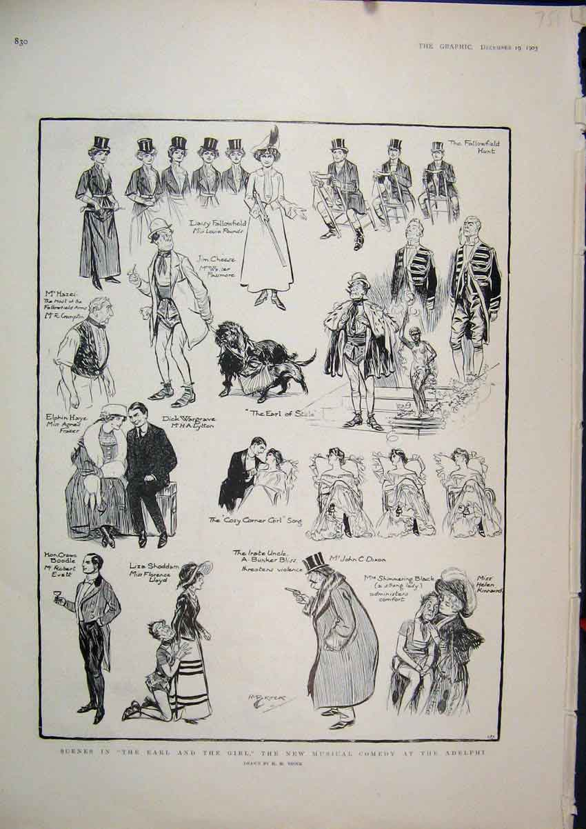 Print 1903 Scene Earl Girl New Musical Comedy Adelphi Theatre 51Mar1 Old Original