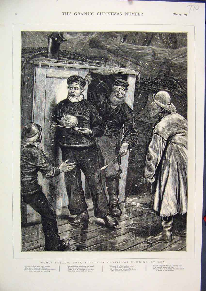 Print 1875 Christmas Pudding Sea Board Ship Deck Snowing 70Mar1 Old Original