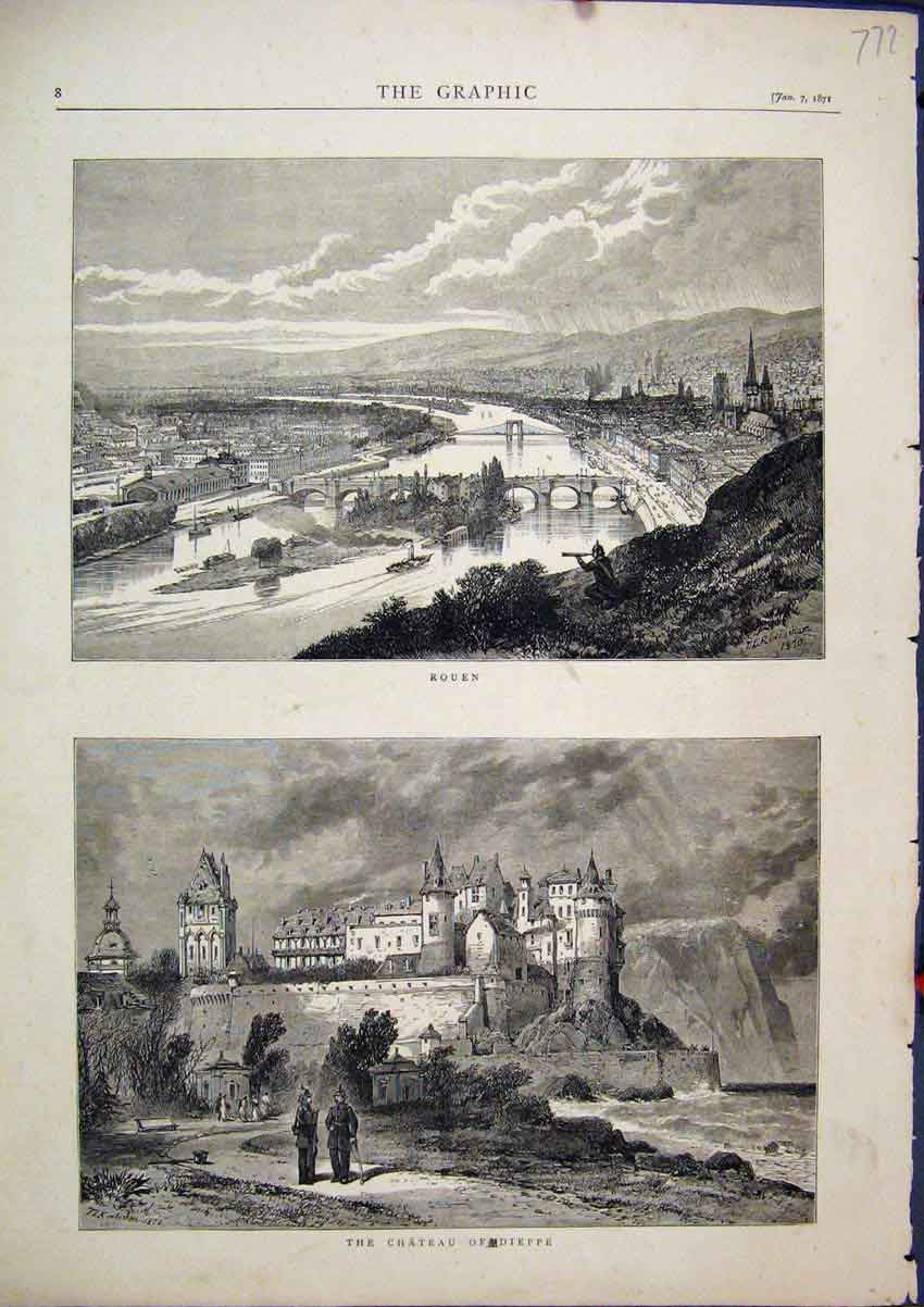 Print 1871 Scene Chateau Dieppe Rouen Country View Sketch 72Mar1 Old Original
