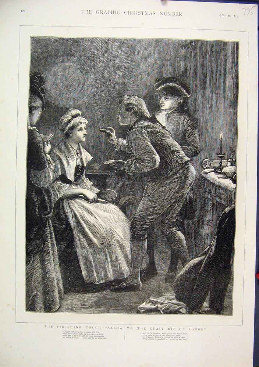 Print 1875 Woman Make Up Touching Rouge 75Mar1 Old Original