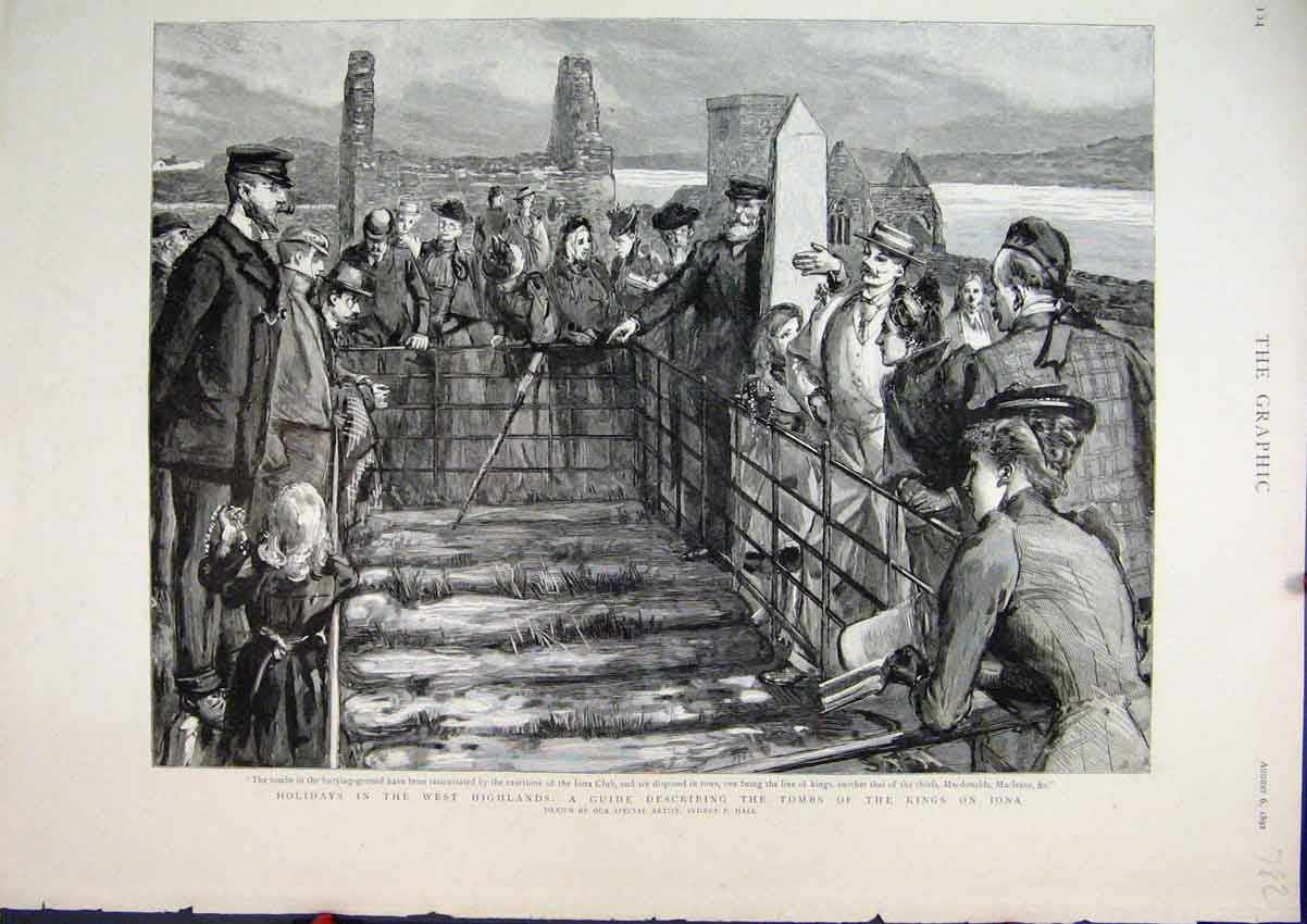 Print 1892 Tombs Kings Iona Holiday West Highlands Scotland 82Mar1 Old Original