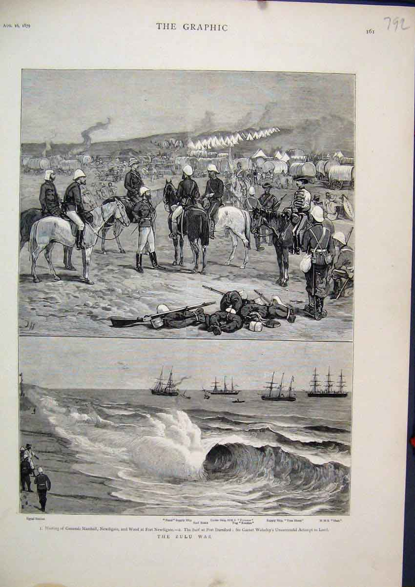 Print 1879 Zulu War General Marshall Newdigate Wood Ship 92Mar1 Old Original