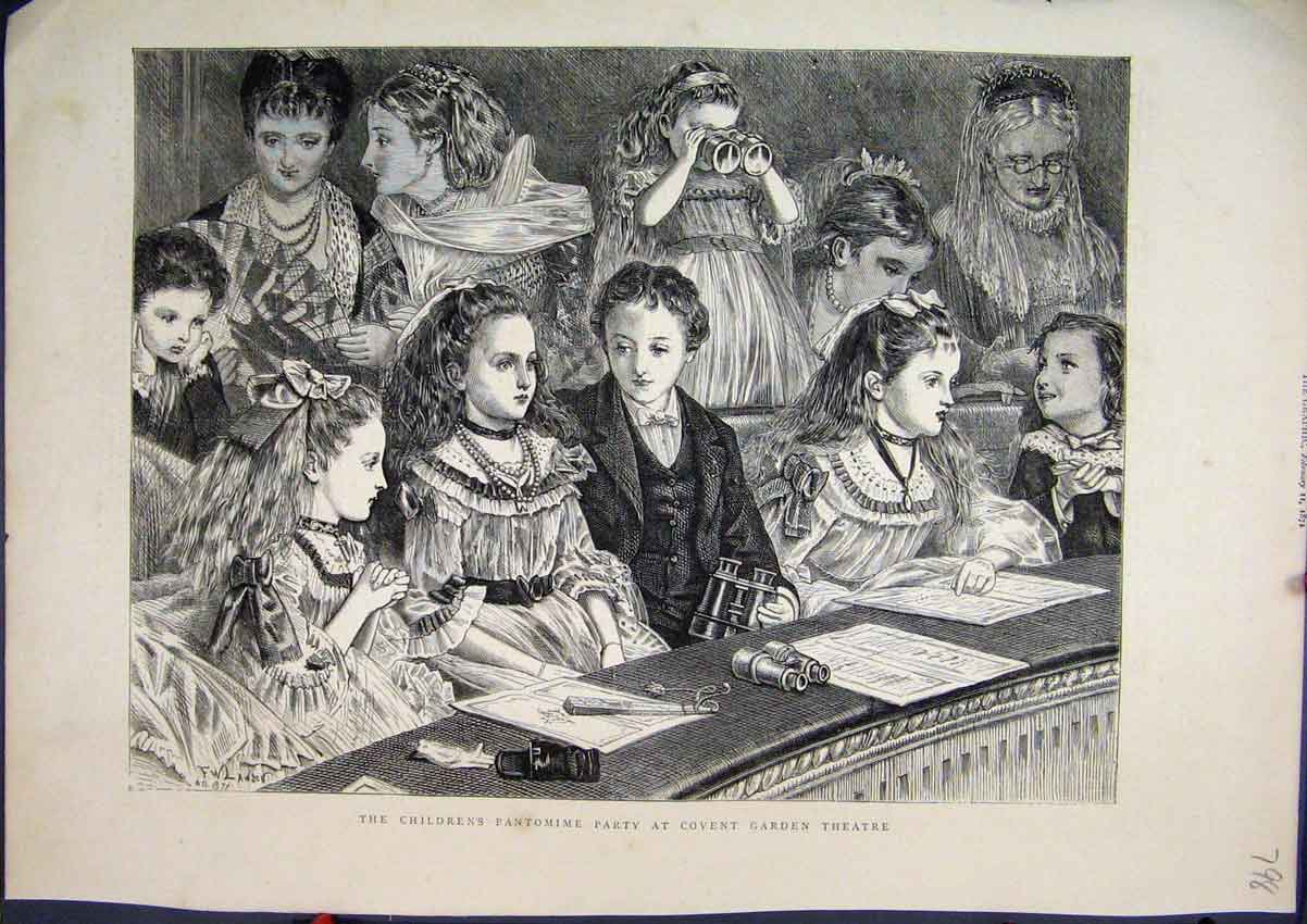 Print Children Pantomime Party 1871 Covent Garden Theatre 98Mar1 Old Original