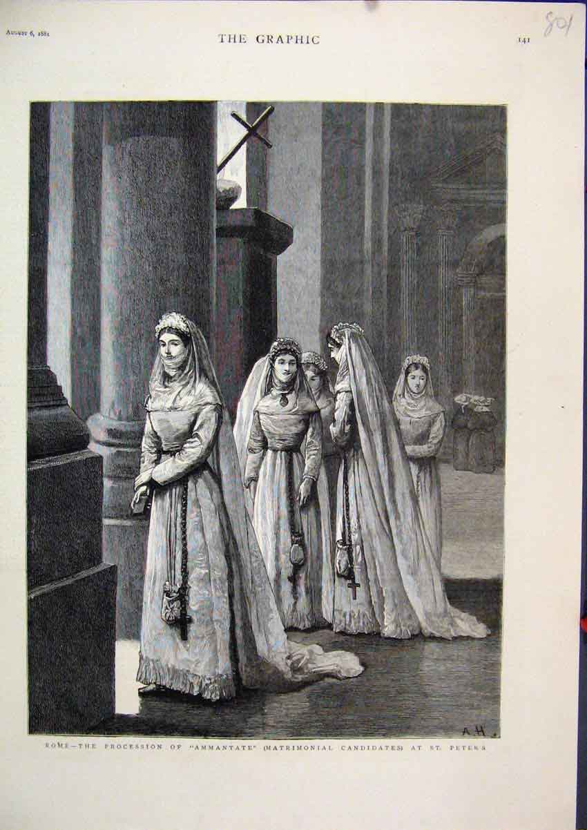 Print 1881 Rome Procession Ammantate Matrimonial St. Peters 01Mar1 Old Original