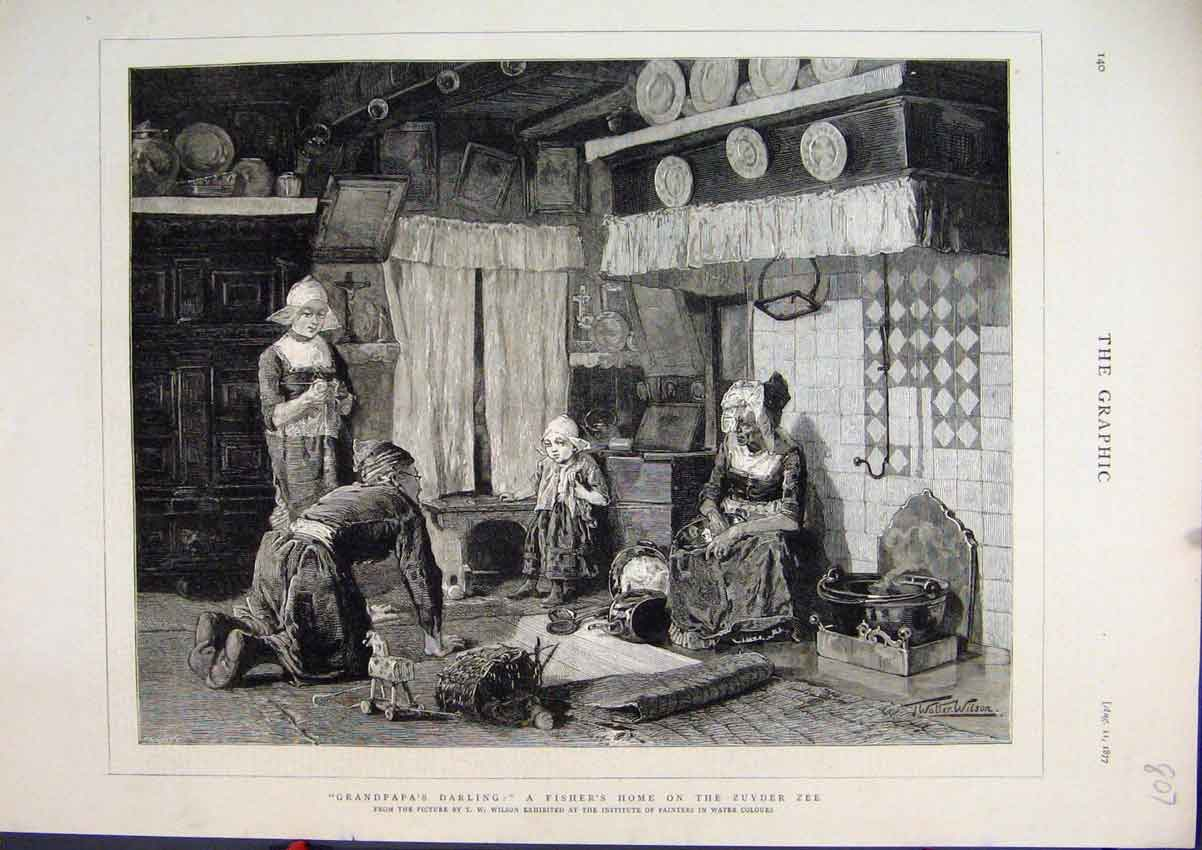 Print 1877 Fisher Home Zuyder Zee Grandpa Darling Little Girl 07Mar1 Old Original