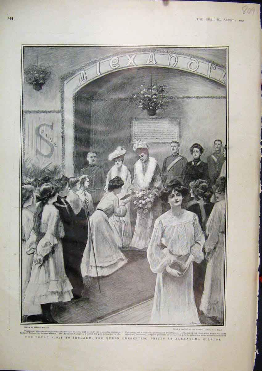 Print Royal Visit Ireland 1903 Queen Prizes Alexandra College 09Mar1 Old Original