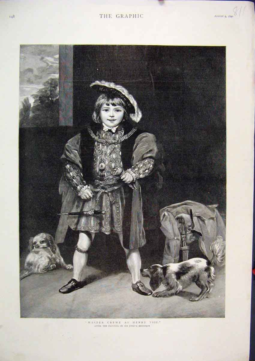 Print 1890 Master Crewe Dressed Henry Viii Little Dogs Play 11Mar1 Old Original