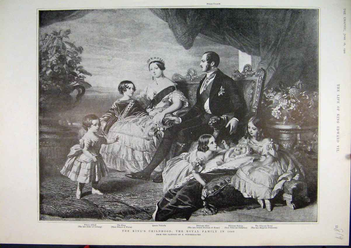 Print 1902 Kings Childhood Royal Family Portrait Victoria 19Mar1 Old Original