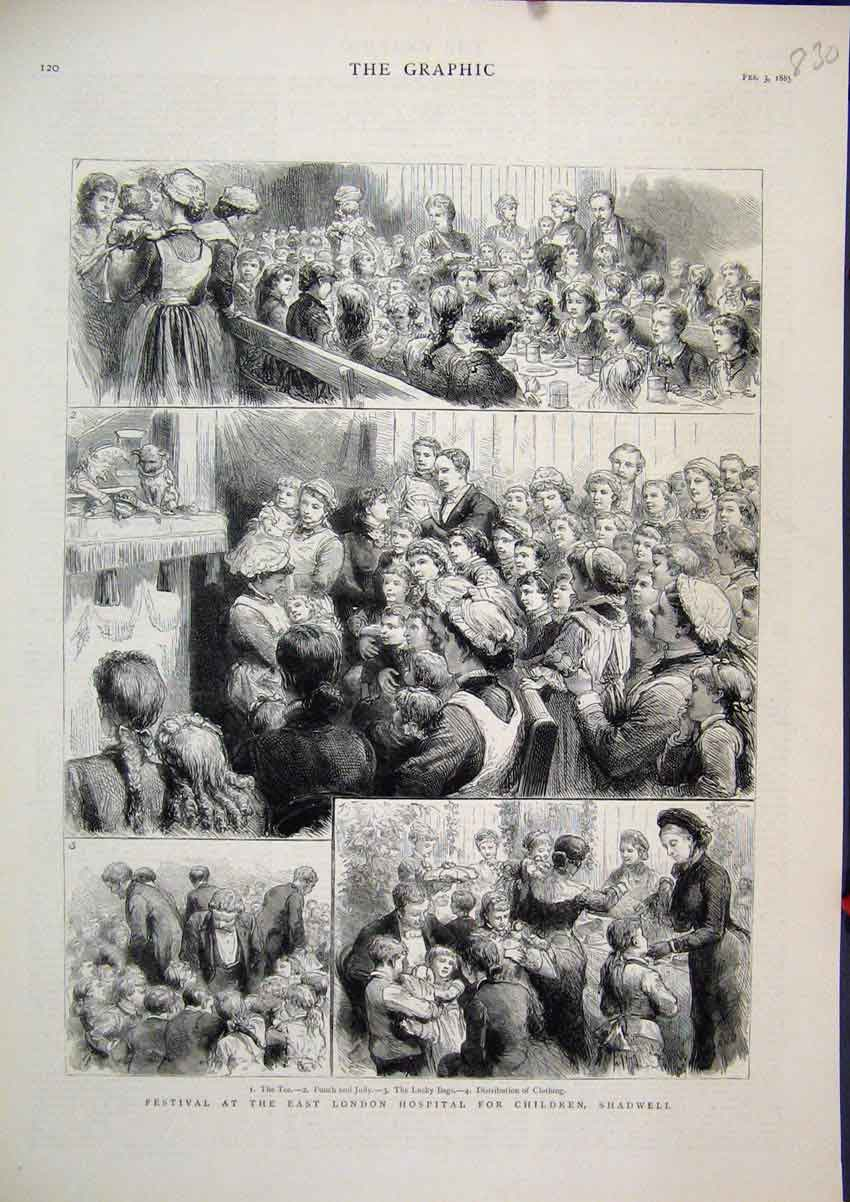 Print 1883 Festival East London Hospital Children Shadwell 30Mar1 Old Original