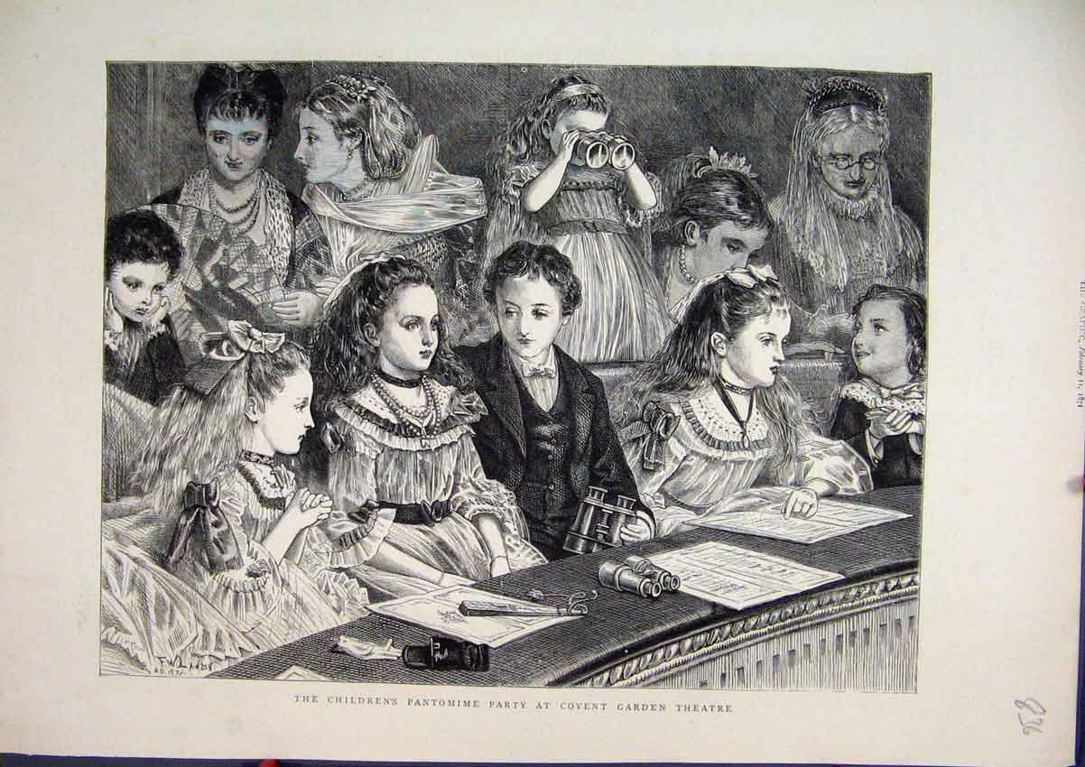 [Print 1871 Childrens Pantomime Party Covent Garden Theatre 36Mar1 Old Original]