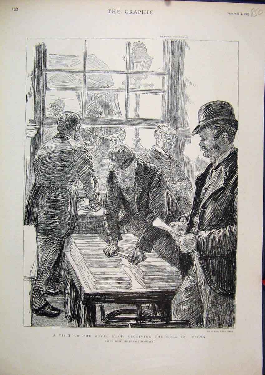 Print 1893 Visit Royal Mint Men Receiving GIngots Sketch 50Mar1 Old Original