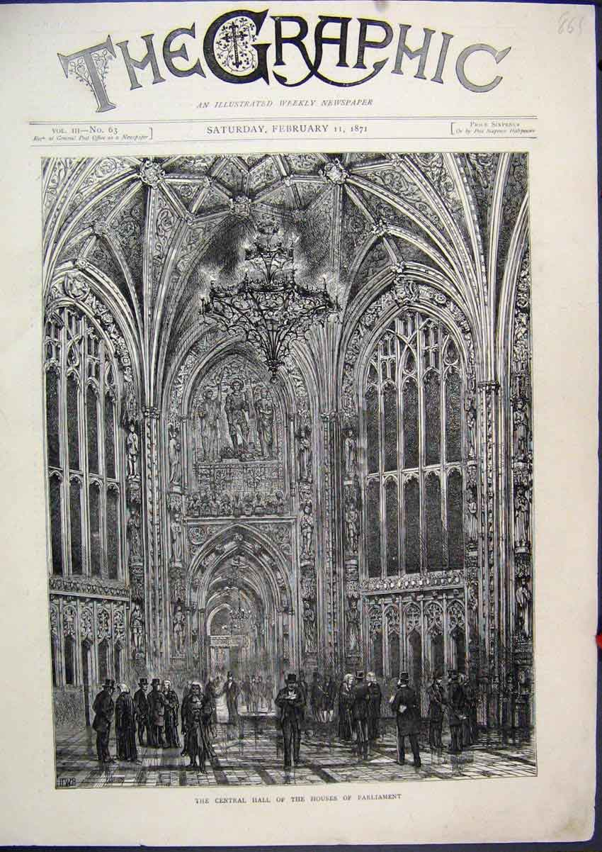 Print Central Hall Houses Parliament 1871 Judges 61Mar1 Old Original